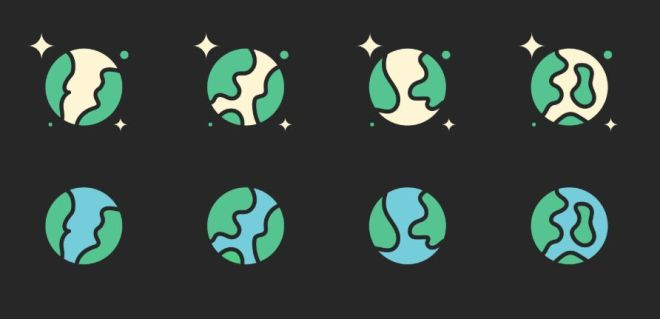 8 Earth Icons Vector