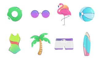 8 Summer Travel Vector Icons
