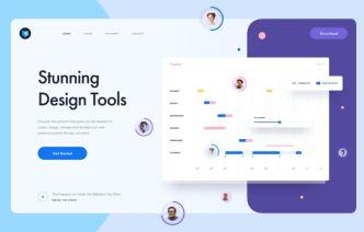 Stunning Design Tool Landing Page Sketch Template