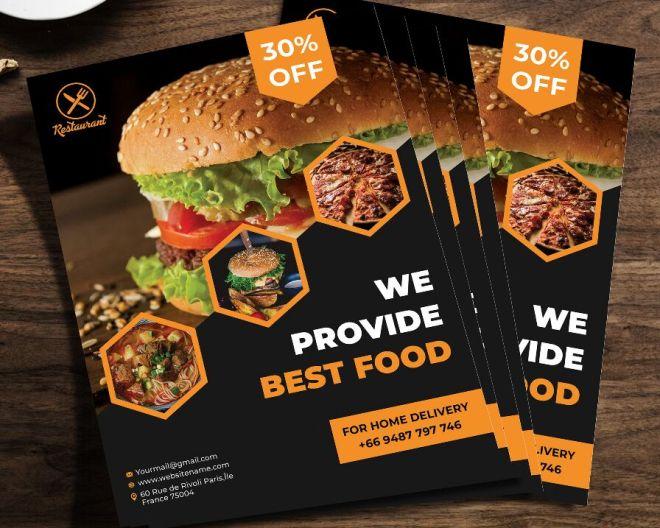 Elegant Restaurant Food Flyer PSD Mockup
