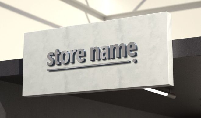 3D Outdoor Store Name PSD Mockup