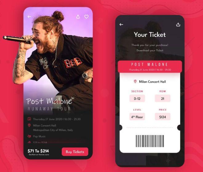 Fashion Ticketing App UI For Adobe XD