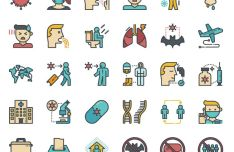 36 Coronavirus COVID-19 Icons (4 Styles)