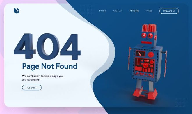 Robot 404 Error Page Template For XD