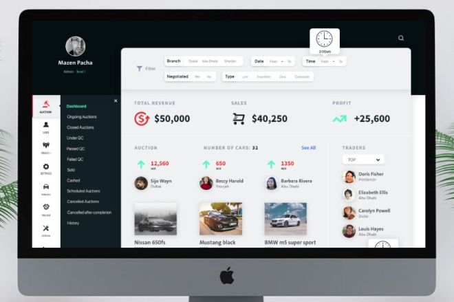 Professional Auction Dashboard UI Design For Adobe XD