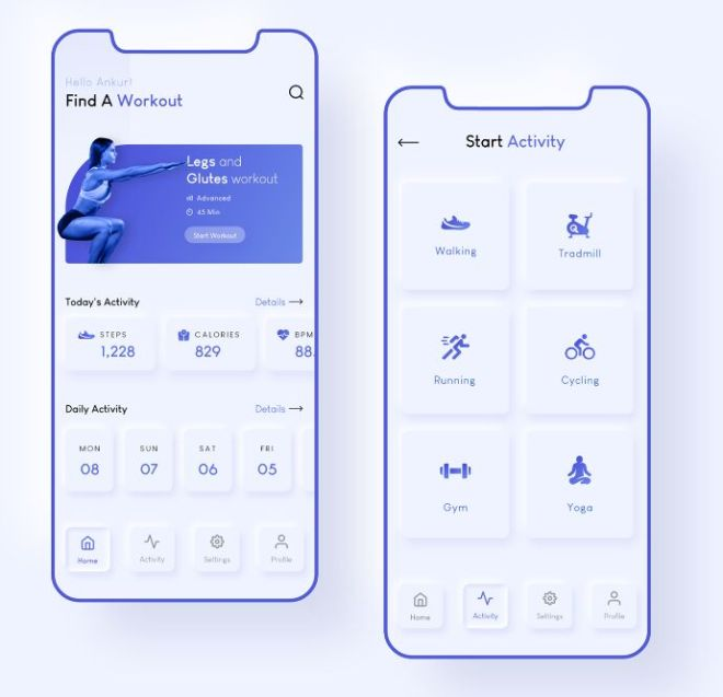 Neumorphism Health & Workout Mobile App Design (XD)