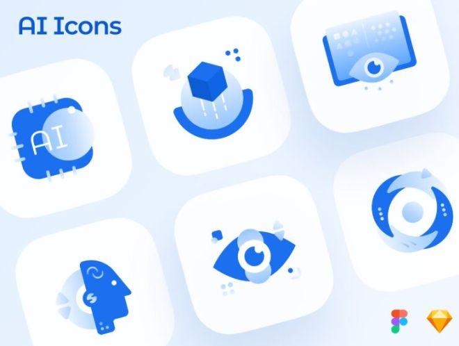 6 AI Machine Learning Vector Icons