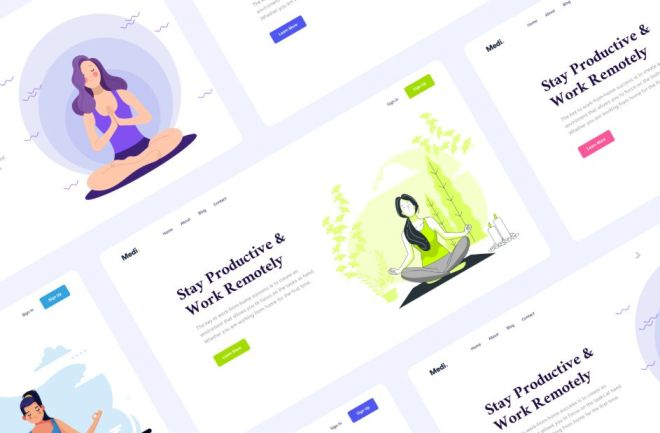 Yoga Meditation Header Banners Figma