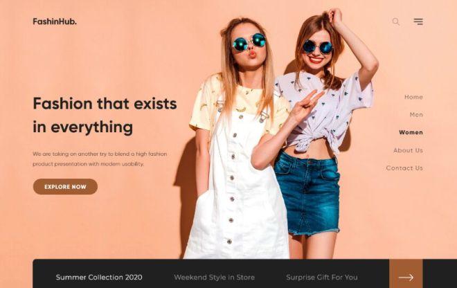 Fashion Modern Web Page Template Adobe XD