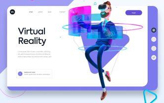 Elegant Virtual Reality Landing Page Template For Adobe XD