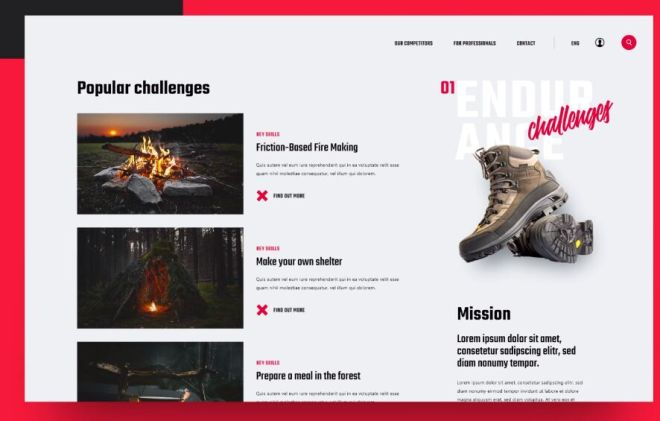 Survival Web Template For Adobe XD