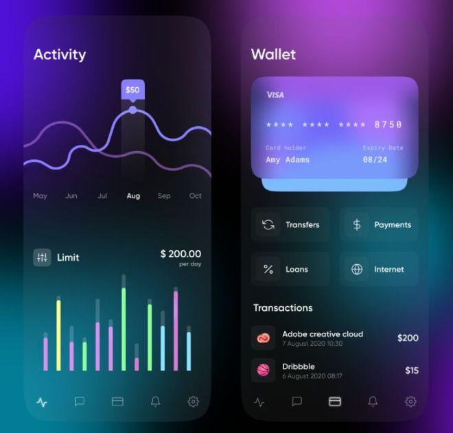 Dark Banking Wallet Mobile App Design