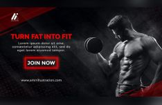 GYM Fintess Banner Template PSD