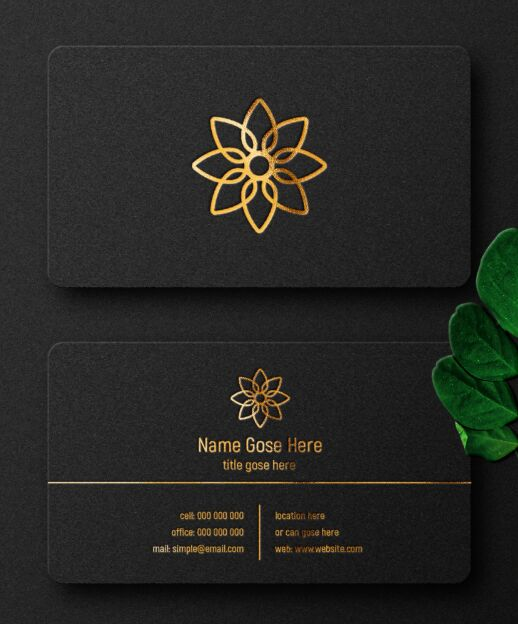 Dark Luxury Business Card Mockup PSD Mockup