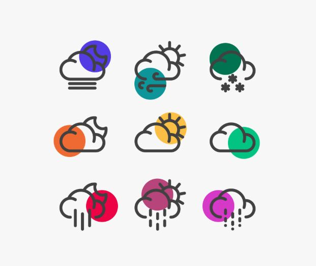 Semi Color Weather Icons Vector