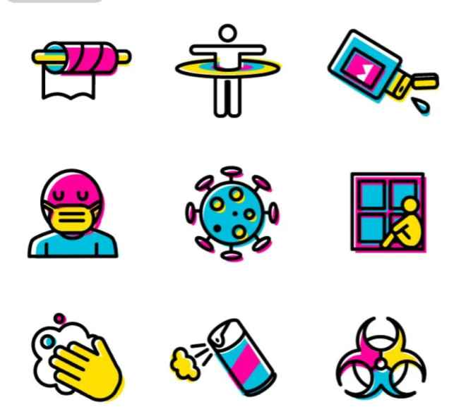 COVID-19 Pandemic Icon Set Vector