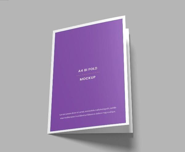 A4 Sized Bi-fold Brochure Mockup PSD