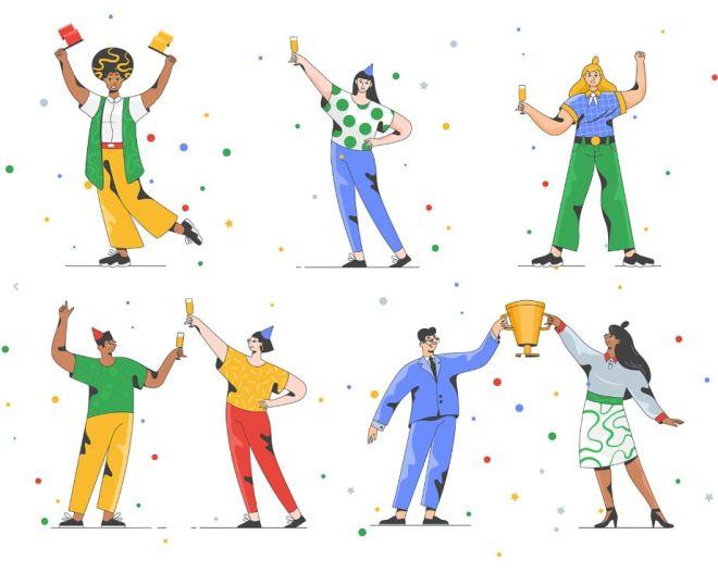 Success Celebrate Victory Vector Illustration