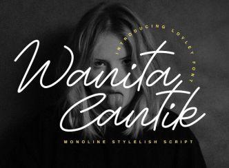 Wanita Cantik Monoline Stylish Font