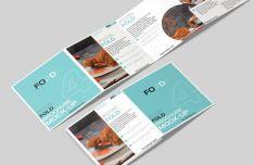 Square Four Fold Brochure PSD Mockup