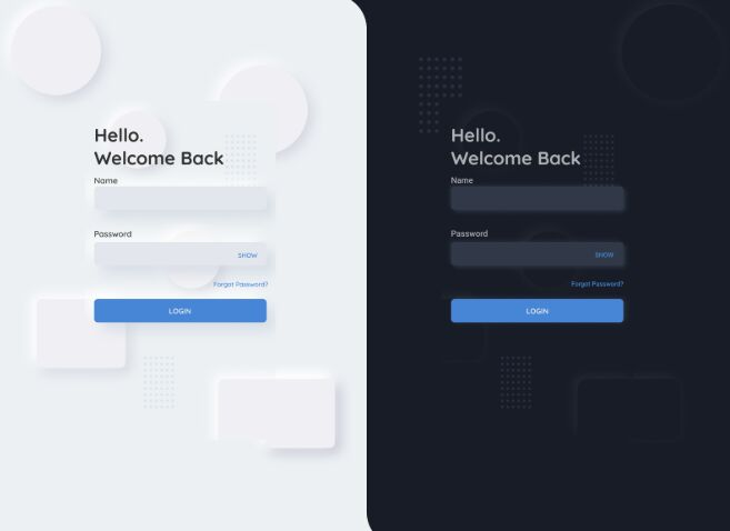 Neumorphism Design Login Page Template Figma