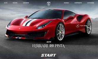 Ferrari 488 Pista Landing Page Screen Mockup
