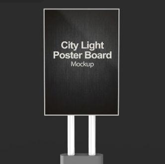 City Light Poster Board PSD Mockup
