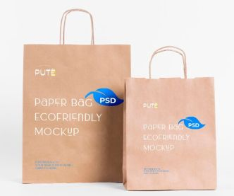 Realistic Paper Shopping Bag PSD Mockup