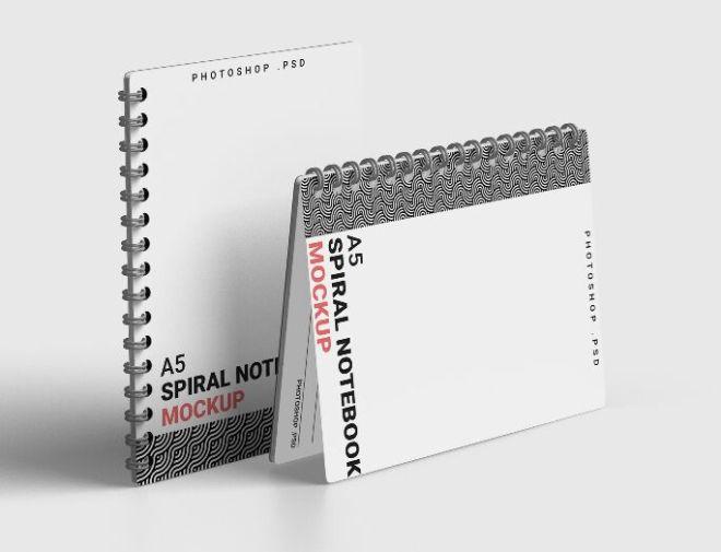 Spiral A5 Notebook Mockup PSD