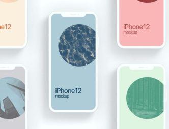 4 Minimal iPhone 12 Clay Mockups PSD