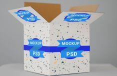 Realistic Cardboard Box Mockup PSD
