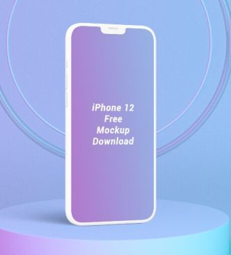 Minimal Standing iPhone 12 PSD Mockup
