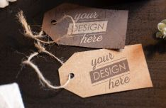 Cardboard Tag Label Photoshop Template