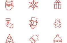9 Thin Line Christmas Icons Vector