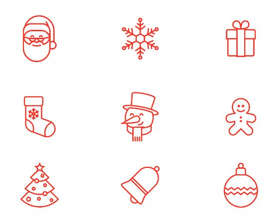 9 Thin Line Christmas Icons Vector