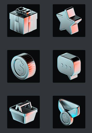 3D Icon Set (3 Materials)