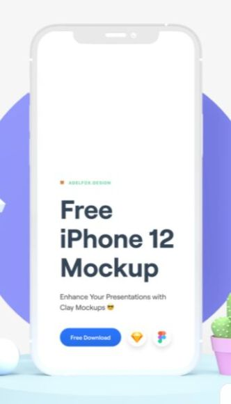 iPhone 12 Clay Mockup For Sketch & Figma