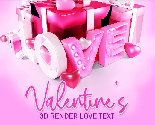 3D Render Love Text PSD