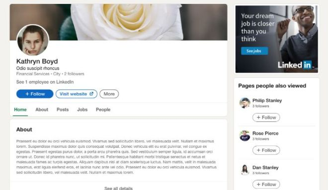 Linkendin Website Mockup Adobe XD