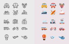 15 Transportation Icons Vector