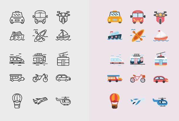 15 Transportation Icons Vector