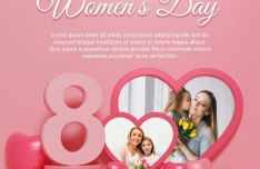 Happy Women's Day Photo Frame Mockup PSD