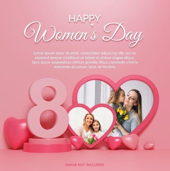 Happy Women's Day Photo Frame Mockup PSD