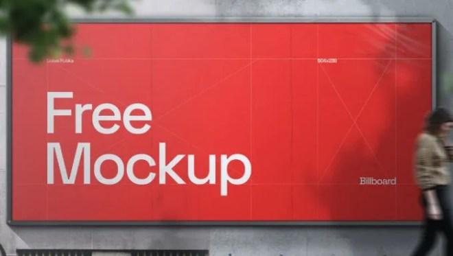 Billboard On Wall PSD Mockup