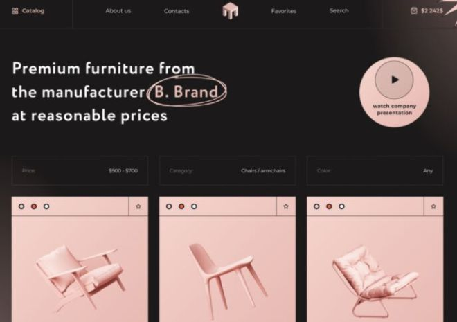 Furniture Catalog Page Template Figma