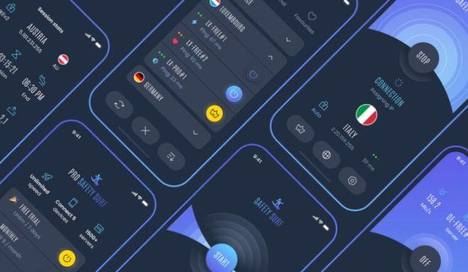 Dark VPN App UI Design Figma