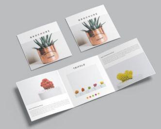 10 Square Trifold Brochure Mockups PSD
