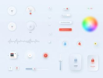 Neumorphic Style Interactive UI Kit Figma