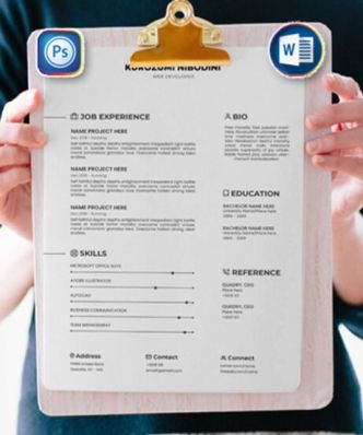 Resume (Cover Letter, Portfolio, Job Experience) Templates PSD