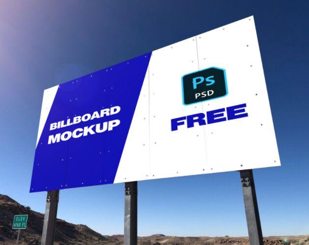 Highway Ad Billboard PSD Mockup